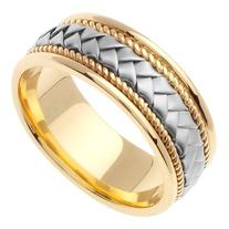 14K Two Tone Solid Gold Hand Braided Wedding Ring Band for