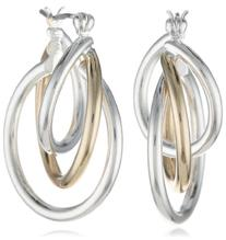 "Napier ""Napier Classics"" Two-Tone Twisted Hoop Earrings"
