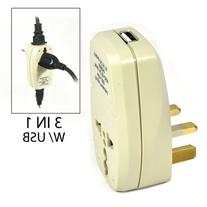OREI 3 in 1 UK Travel Adapter Plug with USB and Surge