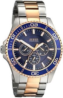 GUESS Men's U0172G3 Two-Tone Rose Gold-Tone Watch with Blue