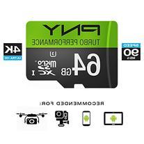 PNY U3 Turbo Performance 64GB High Speed MicroSDXC Class 10 UHS-I, up to 90MB/sec Flash Card