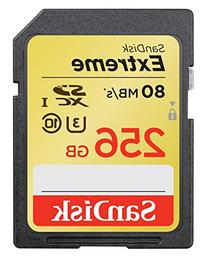SanDisk Extreme 256GB U3/UHS-I SDXC with 4K Ultra HD, Up to 80MB/s Read;60MB/s Write- SDSDXN-256G-G46