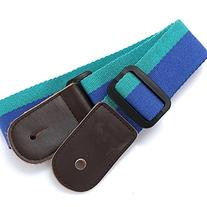 Ukulele Strap Pure Cotton Blue Colorful Strap with Leather
