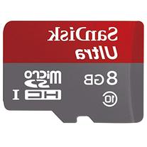 SanDisk Ultra 8GB Class 10 UHS-I MicroSDHC Memory Card with Adapter,  Grey / Red, Standard Packaging