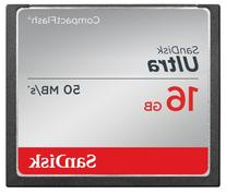 SanDisk Ultra 16GB Compact Flash Memory Card Speed Up To 50MB/s, Frustration-Free Packaging- SDCFHS-016G-AFFP