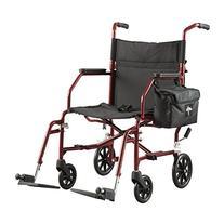 "Medline Lightweight Steel Transport Chair, 19"" Wide Seat,"