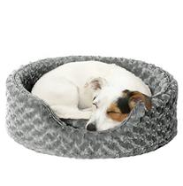 Furhaven Pet NAP Oval Ultra Plush Bed for Dog or Cat, Medium, Gray