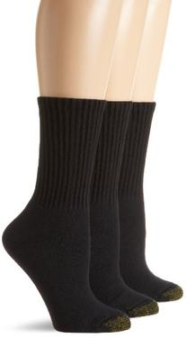Gold Toe Women's 3 Pack Ultratec Crew Socks, Black, 9-11