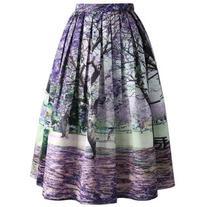 Chicwish Under the Jacaranda Printed Midi Skirt