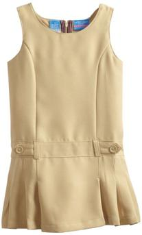 Nautica Little Girls'  Uniform Jumper Dress, Khaki,6