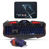 Gaming Keyboard and Mouse Sets - BAKTH 3 Cool Colors LED Backlit Wired USB Keyboard and Mouse Combo for PC Computer Games Including Durable Mouse Mat