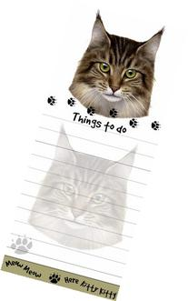 """""""Maine Coon Cat Magnetic List Pads"""" Uniquely Shaped Sticky"""
