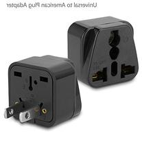 BoxWave Universal to American Outlet Plug Adapter Black -