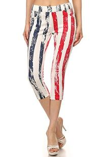 ICONOFLASH Women's USA American Flag Capri Jeggings