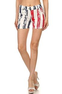 ICONOFLASH Women's USA American Flag Jegging Shorts