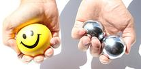 USA  Heavier Iron Ball +  Yellow Smiley Happy Face Squeeze