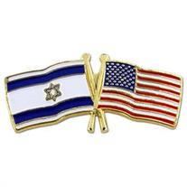 USA and Israel Crossed Friendship Flag Lapel Pin