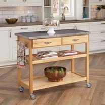 Home Styles Natural Designer Utility Cart with Stainless