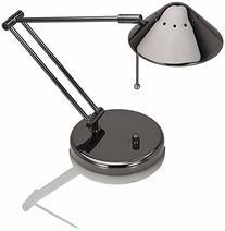 V-LIGHT Halogen Desk Lamp with 3-Point Adjustable Arm, Black Chrome