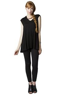 Ladies V Neck Cap Sleeve Flare Tunic Top with Longer Back