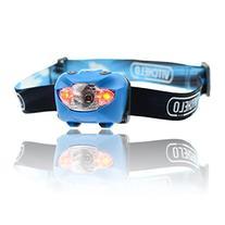 Vitchelo V800 Headlamp Flashlight with Red LED, Blue