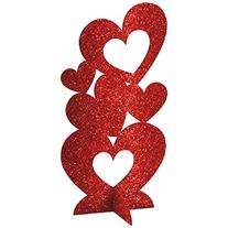 3 x Valentines Red Glitter Hearts 3D Table Centrepiece/