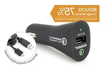 Tenergy 18W In-Vehicle Adaptive Fast USB Car Charger w/