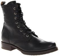 FRYE Women's Veronica Combat Boot, Black Soft Vintage Leather, 5.5 M US