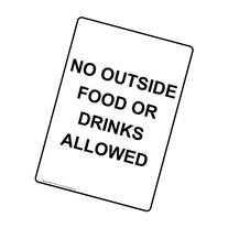 ComplianceSigns Vertical Aluminum No Outside Food Or Drinks