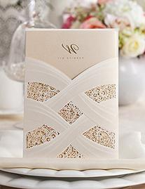 Doris Home Vertical Laser Cut Wedding Invitation with White
