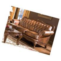 Coaster Vienna Classic Brown Leather Sofa