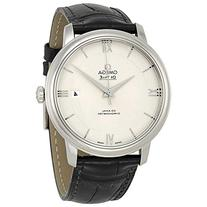 Omega De Ville Prestige Silver Dial Black Leather Mens Watch