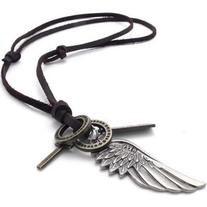 Mens Vintage Angel Wing Cross Pendant Brown Leather Cord
