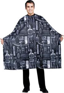 Betty Dain Vintage Barber Cutting Cape, Black Print