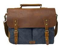 "ECOSUSI Unisex Vintage Canvas Leather 14"" Laptop Messenger"