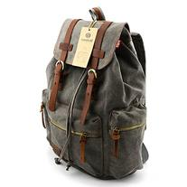 BLUBOON Canvas Vintage Backpack Leather Casual Bookbag Men