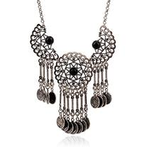 Vintage Coins Collection Style, Punk Necklace with Stone and