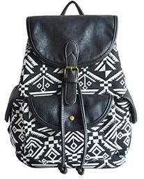 ZJINGZ Vintage Cute Leather and Canvas Shoulder Bag Backpack
