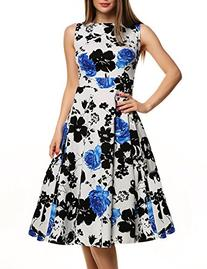ACEVOG Women Vintage Dresses Retro 1950s Floral Sleeveless