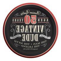 Creative Converting 8 Count Vintage Dude 50th Birthday Round Dessert Plates
