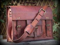 """handolederco. Vintage Leather Laptop Bag 15"""" Messenger"""