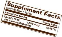 Sundown Naturals Vitamin B-12 High Potency 1000 mcg, 60