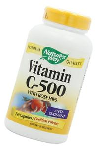 Nature's Way Vitamin C 500 with Rose Hips, 250 Capsules