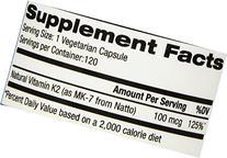 Vitamin K2 MK-7, 100 mcg, 120 Liquid Vegetarian Capsules -