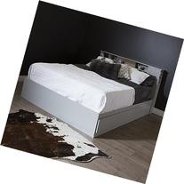 South Shore Vito Queen Mates Bed with 2 Drawers, Soft Grey