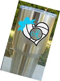 Volleyball Heart Monogram Decal Sticker | Works on YETI,