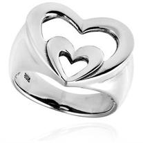Vow of Love Double Heart .925 Sterling Silver Ring