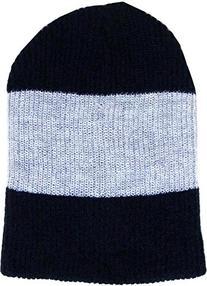 KBW-11 NAV-LGY-NAV Triple Stripe Slouch Beanie Skull Cap Hat