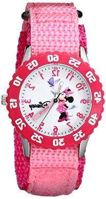 Disney Girls' W000025 Minnie Mouse Watch with Pink Nylon