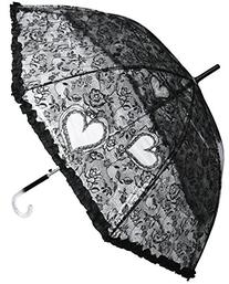 RainStoppers W3466 Auto Open Plastic Lace Print Arc Umbrella